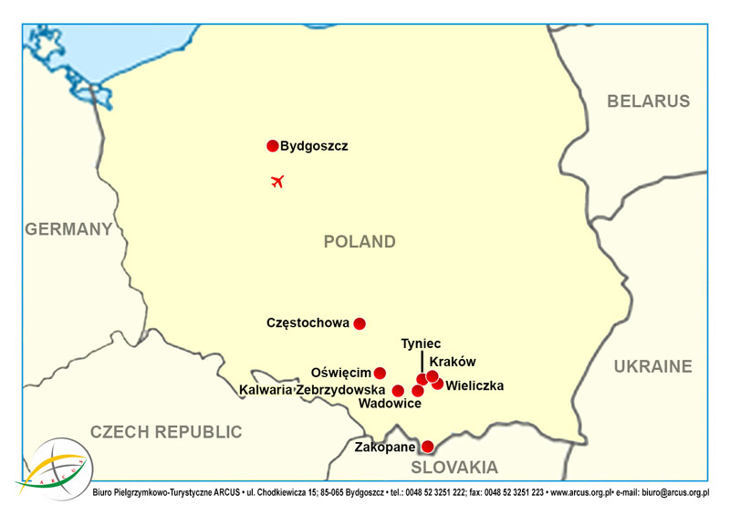 Southern Poland Map.Pilgrimage Southern Poland Bydgoszcz Kalwaria Zebrzydowska